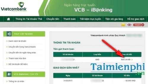 Kiểm tra số dư tài khoản Vietcombank trên máy tính, điện thoại 5
