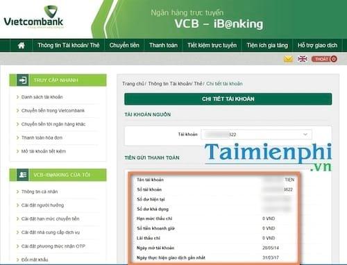 Kiểm tra số dư tài khoản Vietcombank trên máy tính, điện thoại 6