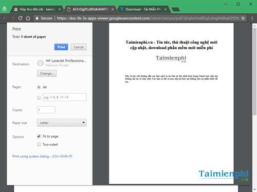 Cách in file đính kèm trong Gmail, in văn bản, tài liệu đính kèm trên mail