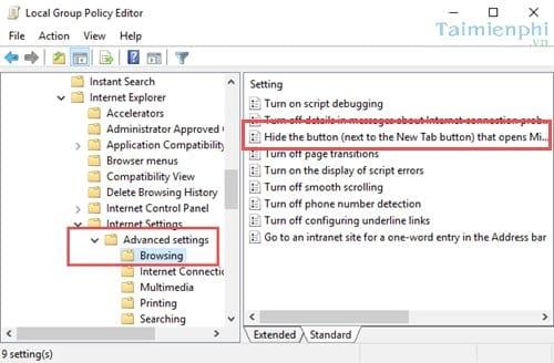 Cách ẩn biểu tượng Microsoft Edge trên Internet Explorer trong Windows 10