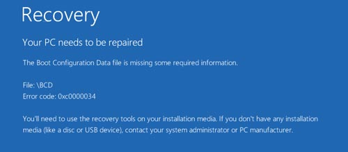 cach sua loi a boot configuration data file is missing tren windows 10
