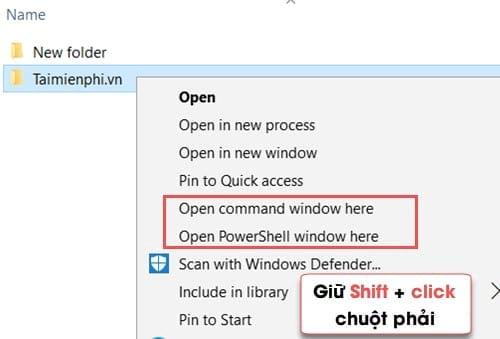 them cau lenh command vao menu chuot phai tren windows 10 8 1 8 7 10
