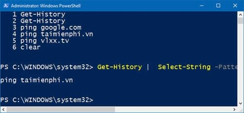 huong dan xem lich su bang cau lenh tren windows powershell 5