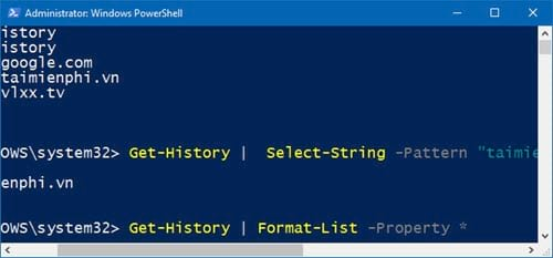 huong dan xem lich su bang cau lenh tren windows powershell 6