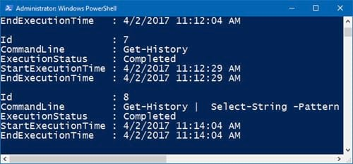 huong dan xem lich su bang cau lenh tren windows powershell 7