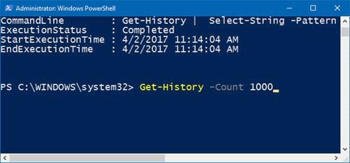 huong dan xem lich su bang cau lenh tren windows powershell 8