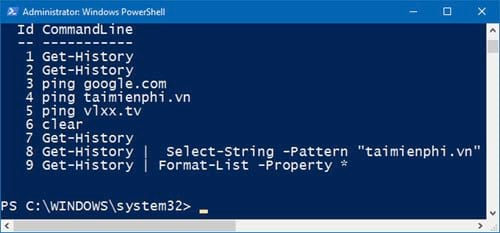 huong dan xem lich su bang cau lenh tren windows powershell 9