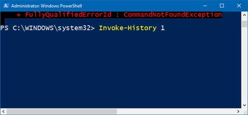 huong dan xem lich su bang cau lenh tren windows powershell 10
