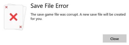 sua loi save file error game solitaire tren windows 10