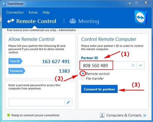Điều khiển máy tính từ xa bằng TeamViewer