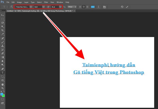 Gõ tiếng việt trong Photoshop, viết chữ tiếng việt có dấu trên Photoshop