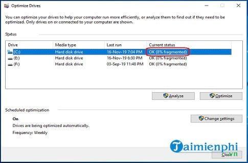 Cách chống phân mảnh ổ cứng Windows 10 3