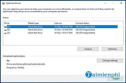Cách chống phân mảnh ổ cứng Windows 10 5
