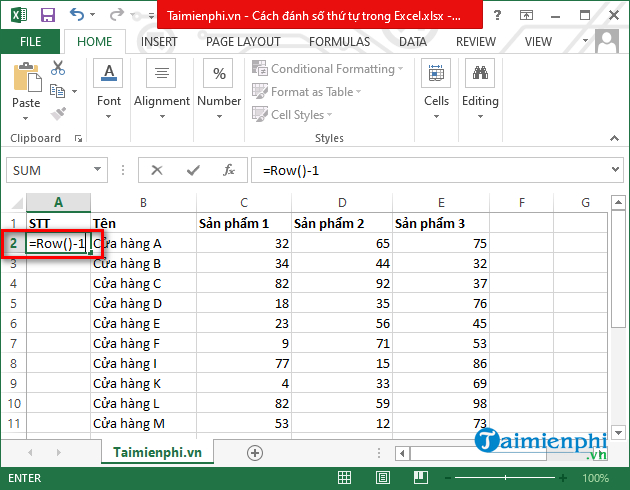 Cach danh so thu tu trong Excel 2003