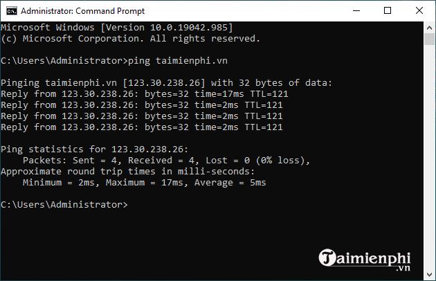 Test ping wifi