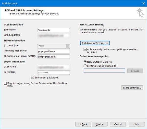 Cài gmail vào Outlook 2016 với IMAP 6