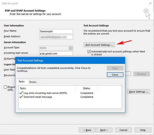 Cài gmail vào Outlook 2016 với IMAP 9