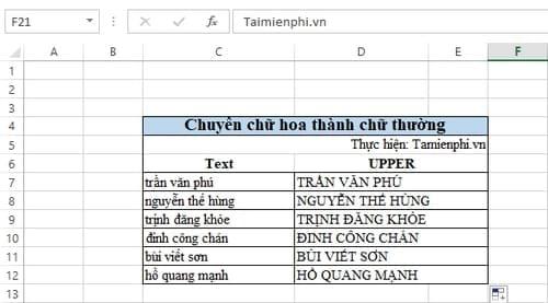 Cách đổi chữ hoa sang chữ thường trong Excel 3