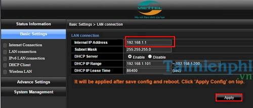 cach nat port modem viettel mo cong modem viettel 7
