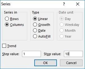Không đánh được số thứ tự trong Excel 2