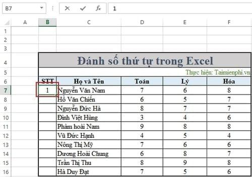 Không đánh được số thứ tự trong Excel 4