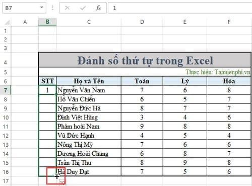 Không đánh được số thứ tự trong Excel 5