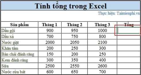 3 cách tính tổng trong Excel 2