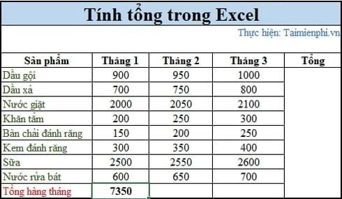 3 cách tính tổng trong Excel 5