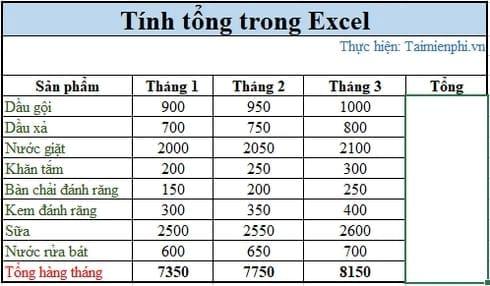 3 cách tính tổng trong Excel 6