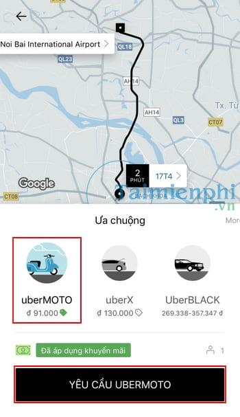 Cách gọi xe ôm Uber, gọi Uber Moto 3