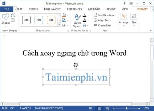 Cách xoay ngang chữ trong Word 5