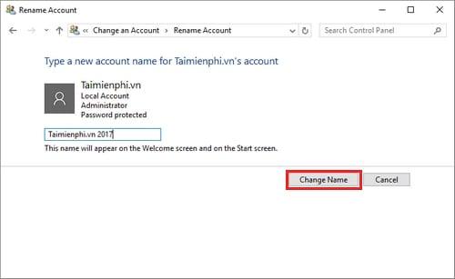 Cách đổi tên tài khoản Windows 10, edit user name 7