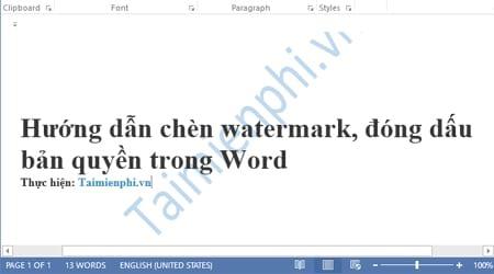 huong dan chen watermark dong dau ban quyen trong word
