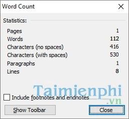 Cách đếm số từ trong Word, đếm ký tự word 3
