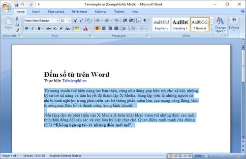 Cách đếm số từ trong Word, đếm ký tự word 4