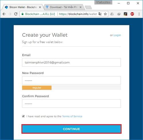 Cách tạo ví Bitcoin Blockchain, đăng ký tài khoản Bitcoin 3