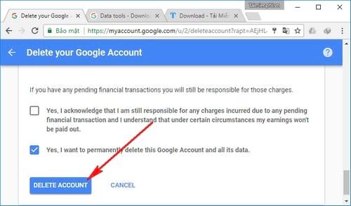 Cách xóa tài khoản Google trên máy tính