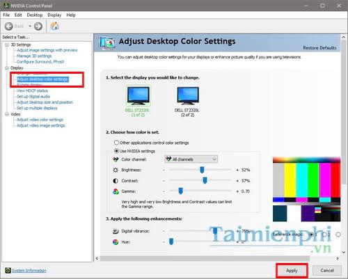 Cách tăng giảm độ sáng, tối màn hình máy tính bàn Desktop 2