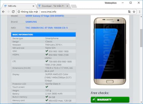 Check imei Samsung S7, kiểm tra imei Galay S7, S7 edge 3