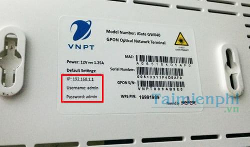 User/Password đăng nhập modem iGate GW040 GPON ONT của VNPT đổi pass wifi 2