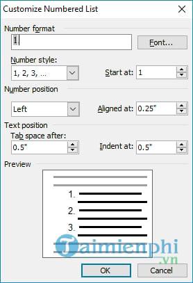 Cách đánh số, điền số thứ tự đầu dòng Word