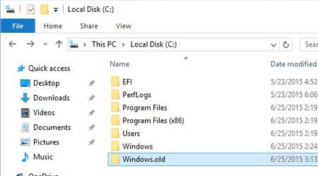 co nen xoa windows old sau khi update windows khong