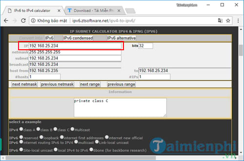 How to convert ipv4 address to ipv6 and reset 6