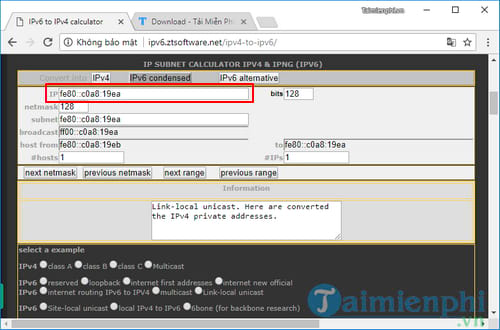 How to convert ipv4 address to ipv6 and reset 7