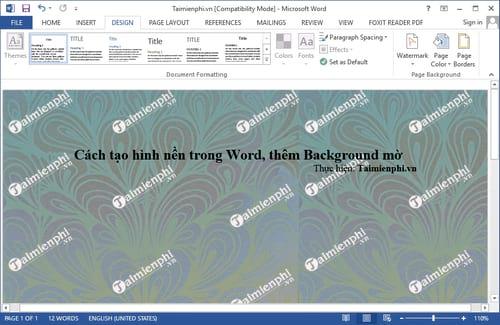 Cách tạo hình nền trong Word, thêm Background mờ 12