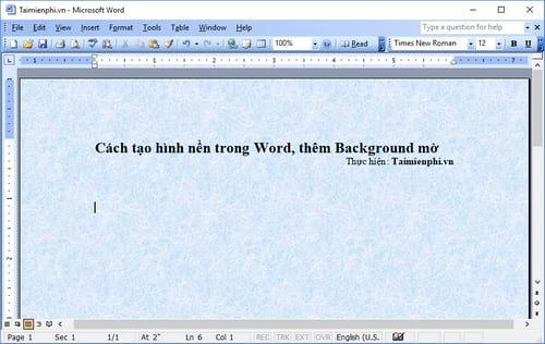 Cách tạo hình nền trong Word, thêm Background mờ 3