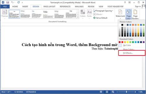 Cách tạo hình nền trong Word, thêm Background mờ 7