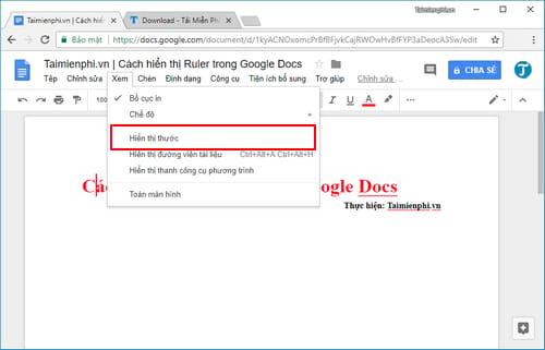 cach hien thi ruler trong google docs 3