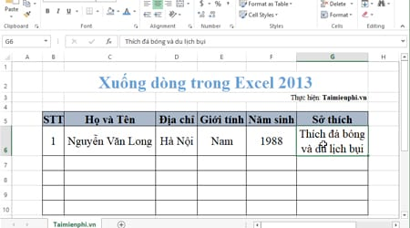 xuong dong trong excel 2013