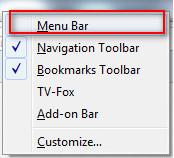 Firefox - Bật và tắt thanh công cụ Menu Bar